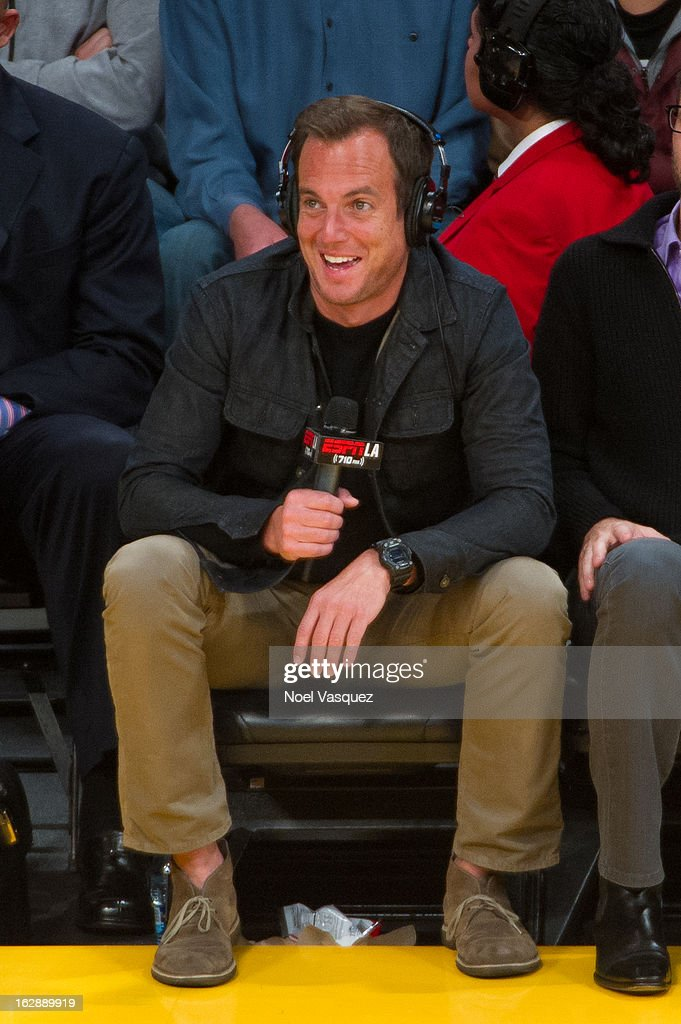 Will Arnett does play by play courtside at a basketball game between the Minnesota Timberwolves and Los Angeles Lakers at Staples Center on February 28, 2013 in Los Angeles, California.