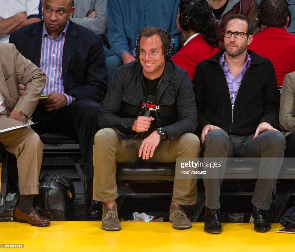 <a gi-track='captionPersonalityLinkClicked' href=/galleries/search?phrase=Will+Arnett&family=editorial&specificpeople=209259 ng-click='$event.stopPropagation()'>Will Arnett</a> does play by play courtside at a basketball game between the Minnesota Timberwolves and Los Angeles Lakers at Staples Center on February 28, 2013 in Los Angeles, California.