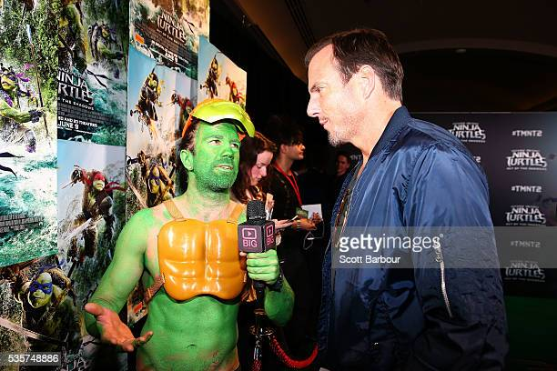 Will Arnett is interviewed as he attends the Teenage Mutant Ninja Turtles Out of the Shadows fan screening at Village Cinemas Jam Factory on May 30...