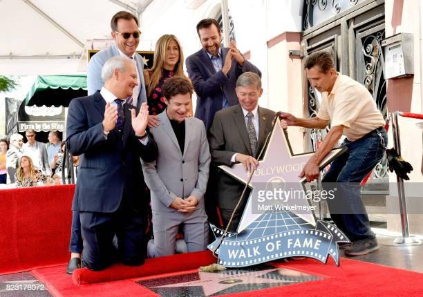 Will Arnett Jennifer Aniston Ben Allen Jeff Zarrinnam Jason Bateman and President CEO Hollywood Chamber of Commerce Leron Gubler attend The Hollywood...