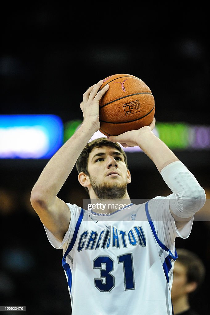 Will Artino #31 of the Creighton Bluejays shoots free throws during their game against the Presbyterian Blue Hose at CenturyLink Center on November 18, 2012 in Omaha, Nebraska.