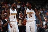 Will Barton and Kenneth Faried of the Denver Nuggets take the court against the Portland Trail Blazers at Pepsi Center on November 9 2015 in Denver...