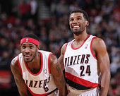 Will Barton and Ronnie Price of the Portland Trail Blazers smile during the game against the Washington Wizards on January 21 2013 at the Rose Garden...