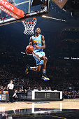 Will Barton of the Denver Nuggets attempts to dunk the ball during the Verizon Slam Dunk Contest during State Farm AllStar Saturday Night as part of...