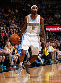 Will Barton of the Denver Nuggets controls the ball against the Golden State Warriors at Pepsi Center on March 13 2015 in Denver Colorado The Nuggets...