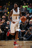 Will Barton of the Denver Nuggets controls the ball against the Portland Trail Blazers at Pepsi Center on November 9 2015 in Denver Colorado The...