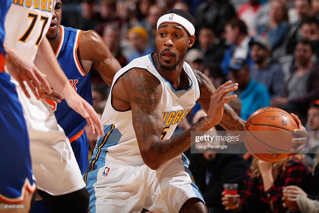 Will Barton of the Denver Nuggets controls the ball against the New York Knicks at Pepsi Center on March 8 2016 in Denver Colorado The Nuggets...