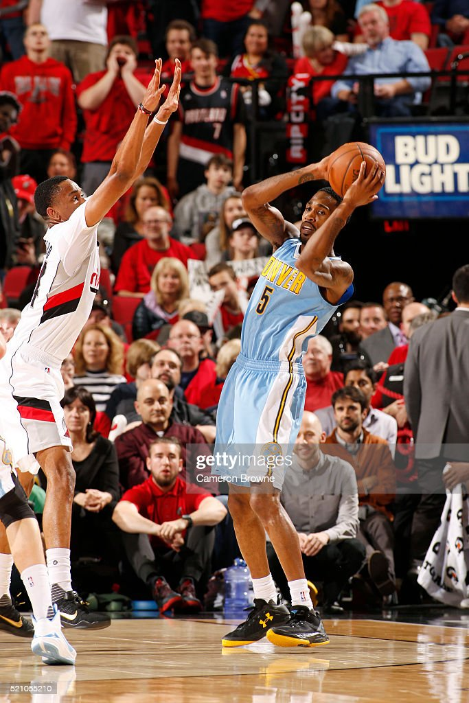 Will Barton of the Denver Nuggets defends the abll against the Portland Trail Blazers during the game on April 13 2016 at Moda Center in Portland...