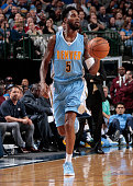 Will Barton of the Denver Nuggets dribbles the ball against the Dallas Mavericks during a preseason game on October 6 2015 at the American Airlines...
