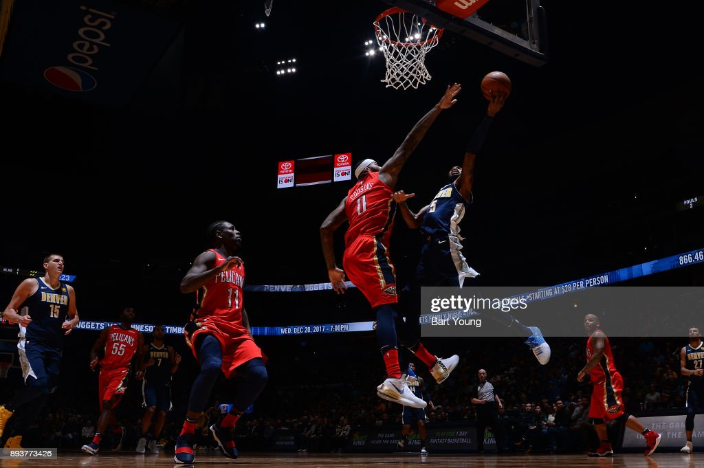 Will Barton #5 of the Denver Nuggets drives to the basket against the New Orleans Pelicans on December 15, 2017 at the Pepsi Center in Denver, Colorado.
