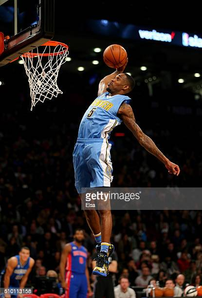 Will Barton of the Denver Nuggets dunks in the Verizon Slam Dunk Contest during NBA AllStar Weekend 2016 at Air Canada Centre on February 13 2016 in...