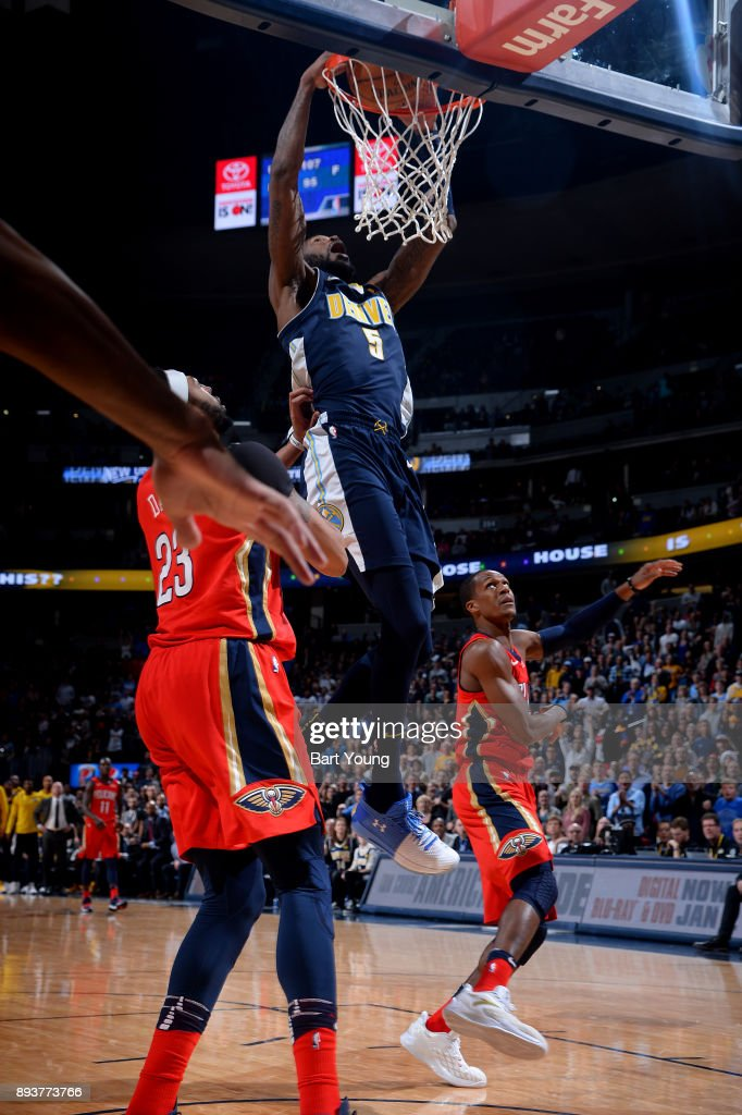 Will Barton #5 of the Denver Nuggets dunks the ball against the New Orleans Pelicans on December 15, 2017 at the Pepsi Center in Denver, Colorado.