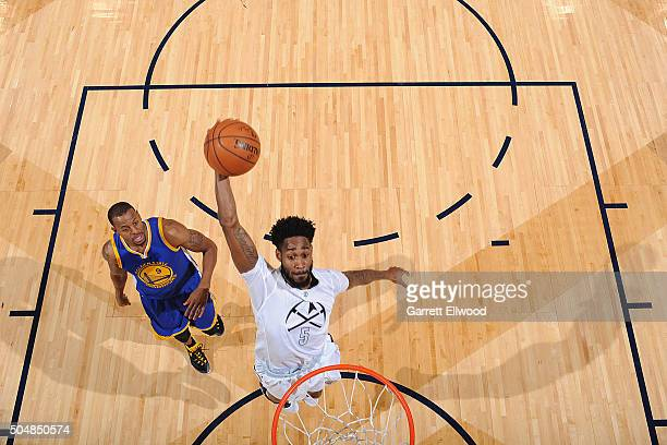 Will Barton of the Denver Nuggets goes up for a dunk against the Golden State Warriors on January 13 2016 at the Pepsi Center in Denver Colorado NOTE...