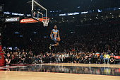 Will Barton of the Denver Nuggets goes up for a dunk during the Verizon Slam Dunk Contest as part of 2016 NBA AllStar Weekend on February 13 2016 at...