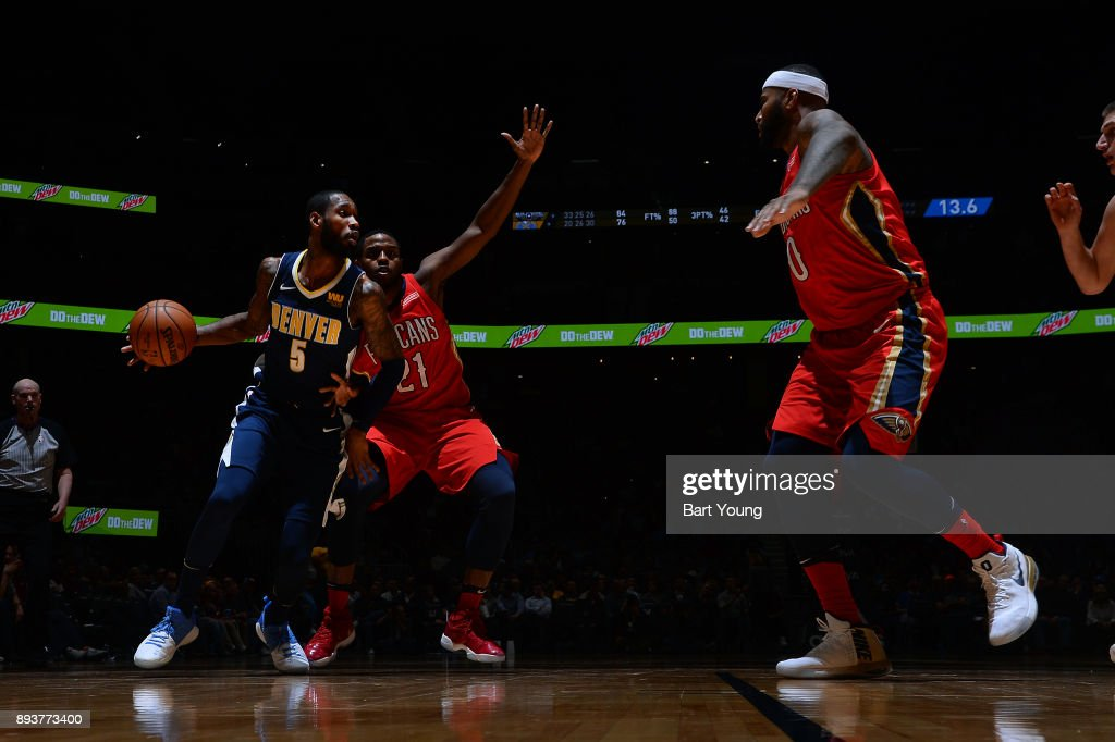 Will Barton #5 of the Denver Nuggets handles the ball against the New Orleans Pelicans on December 15, 2017 at the Pepsi Center in Denver, Colorado.