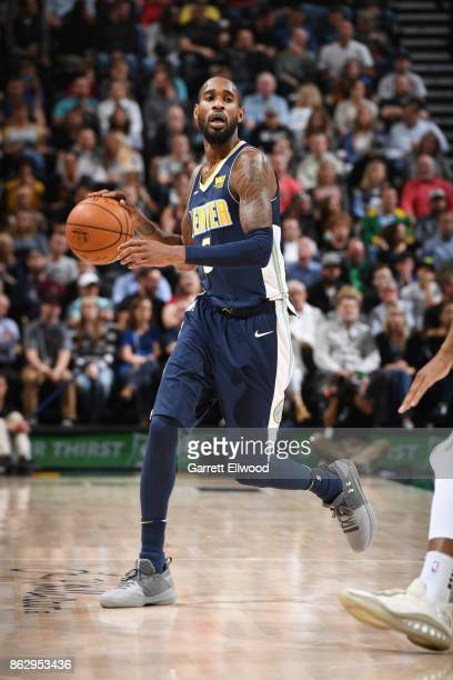 Will Barton of the Denver Nuggets handles the ball against the Utah Jazz during the game on October 18 2017 at vivintSmartHome Arena in Salt Lake...