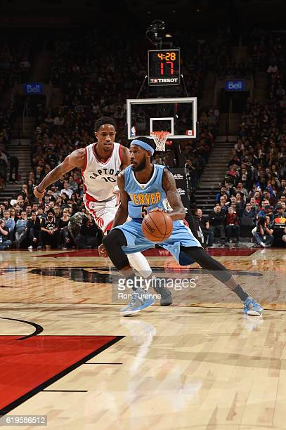 Will Barton of the Denver Nuggets handles the ball during a game against the Toronto Raptors on October 31 2016 at the Air Canada Centre in Toronto...