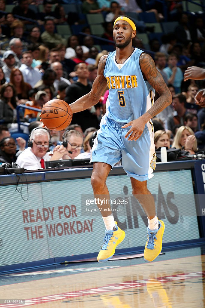 Will Barton of the Denver Nuggets handles the ball during the game against the New Orleans Pelicans on March 31 2016 at the Smoothie King Center in...