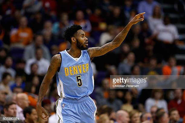 Will Barton of the Denver Nuggets reacts after scoring against the Phoenix Suns during the second half of the NBA game at Talking Stick Resort Arena...