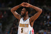 Will Barton of the Denver Nuggets reacts against the Houston Rockets at Pepsi Center on December 14 2015 in Denver Colorado The Nuggets defeated the...
