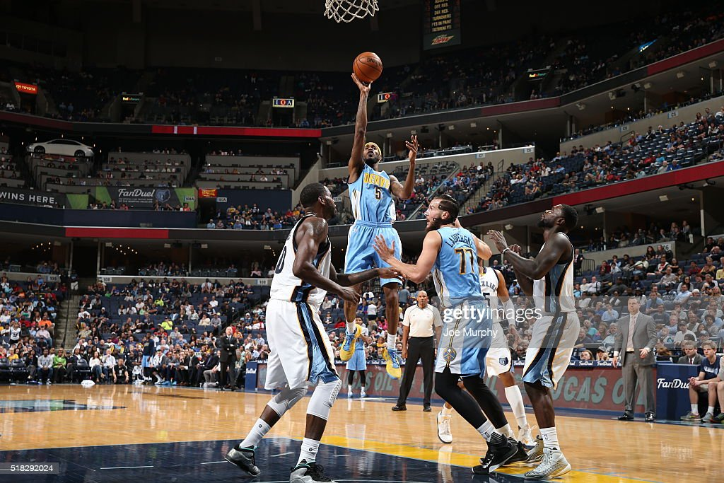 Will Barton of the Denver Nuggets shoots the ball against the Memphis Grizzlies on March 30 2016 at FedExForum in Memphis Tennessee NOTE TO USER User...