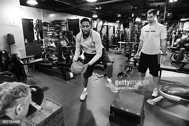 Will Barton of the Denver Nuggets works out before the game against the Utah Jazz on January 24 2017 at the Pepsi Center in Denver Colorado NOTE TO...