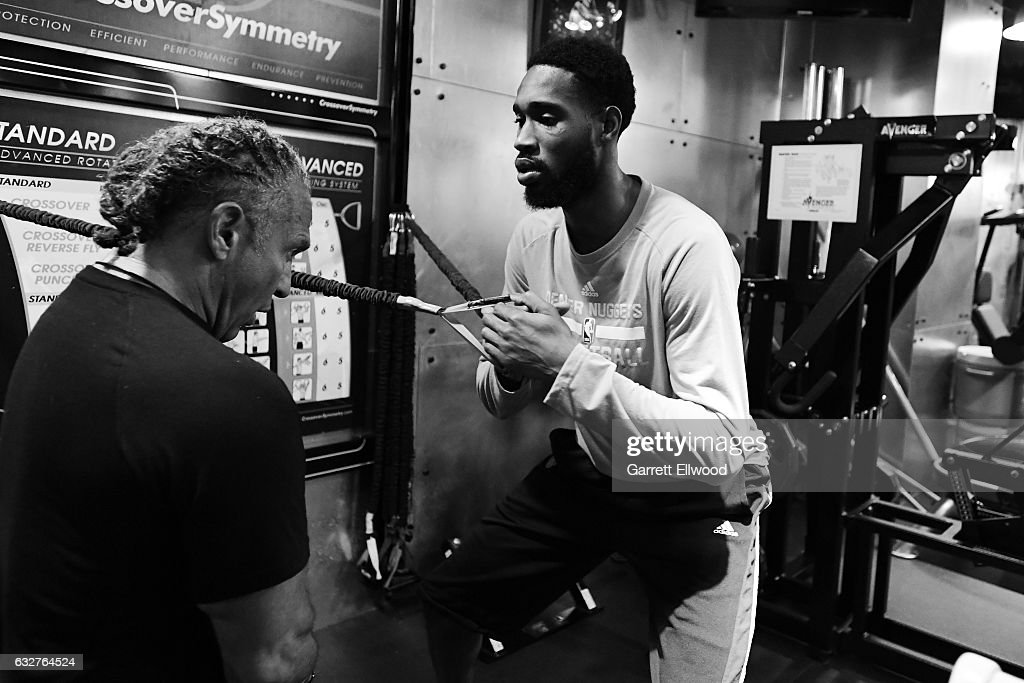 Will Barton #5 of the Denver Nuggets works out with Steve Hess before the game against the Utah Jazz on January 24, 2017 at the Pepsi Center in Denver, Colorado.