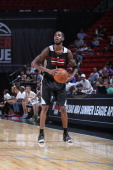 Will Barton of the Portland Trail Blazers controls the ball against the Utah Jazz at the Samsung NBA Summer League 2014 on July 18 2014 at the Thomas...