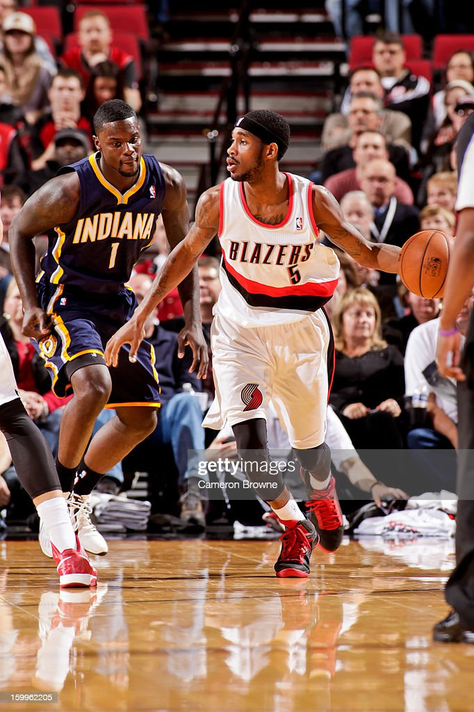 <a gi-track='captionPersonalityLinkClicked' href=/galleries/search?phrase=Will+Barton&family=editorial&specificpeople=6894020 ng-click='$event.stopPropagation()'>Will Barton</a> #5 of the Portland Trail Blazers drives against <a gi-track='captionPersonalityLinkClicked' href=/galleries/search?phrase=Lance+Stephenson&family=editorial&specificpeople=5298304 ng-click='$event.stopPropagation()'>Lance Stephenson</a> #1 of the Indiana Pacers on January 23, 2013 at the Rose Garden Arena in Portland, Oregon.
