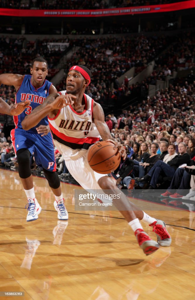 Will Barton #5 of the Portland Trail Blazers drives during the game between the Detroit Pistons and the Portland Trail Blazers on March 16, 2013 at the Rose Garden Arena in Portland, Oregon.