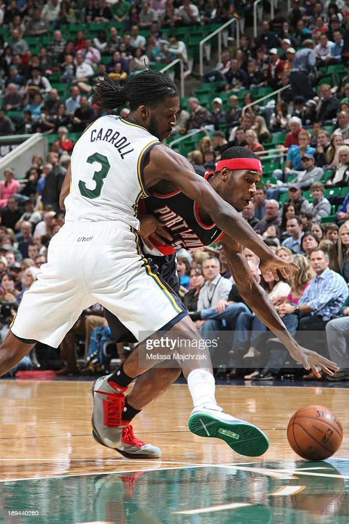 <a gi-track='captionPersonalityLinkClicked' href=/galleries/search?phrase=Will+Barton&family=editorial&specificpeople=6894020 ng-click='$event.stopPropagation()'>Will Barton</a> #5 of the Portland Trail Blazers drives to the basket against <a gi-track='captionPersonalityLinkClicked' href=/galleries/search?phrase=DeMarre+Carroll&family=editorial&specificpeople=784686 ng-click='$event.stopPropagation()'>DeMarre Carroll</a> #3 of the Utah Jazz at Energy Solutions Arena on April 1, 2013 in Salt Lake City, Utah.