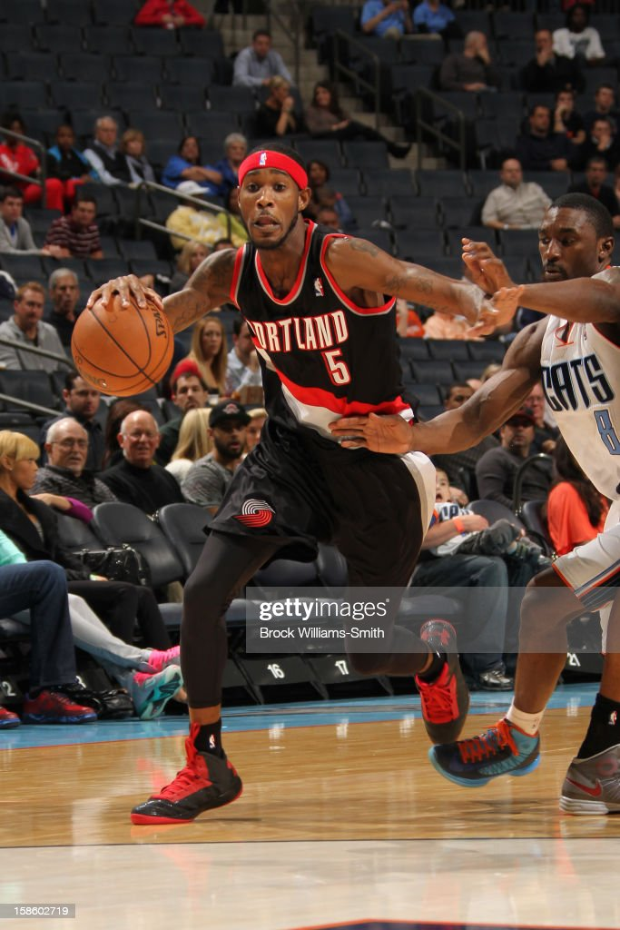 Will Barton #5 of the Portland Trail Blazers drives to the basket against the Charlotte Bobcats at the Time Warner Cable Arena on December 3, 2012 in Charlotte, North Carolina.