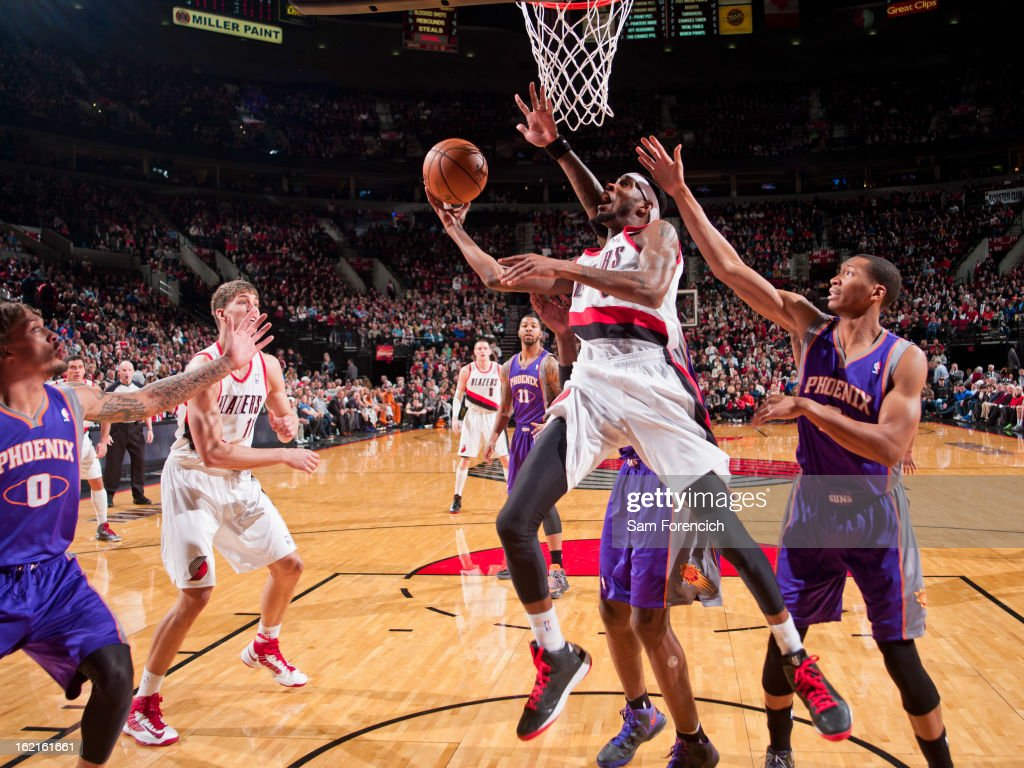 Will Barton #5 of the Portland Trail Blazers drives to the basket against the Phoenix Suns on February 19, 2013 at the Rose Garden Arena in Portland, Oregon.