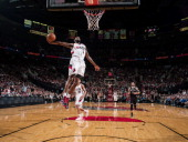 Will Barton of the Portland Trail Blazers dunks against the Brooklyn Nets on February 26 2014 at the Moda Center Arena in Portland Oregon NOTE TO...