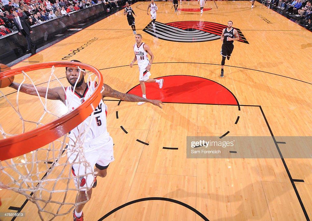 <a gi-track='captionPersonalityLinkClicked' href=/galleries/search?phrase=Will+Barton&family=editorial&specificpeople=6894020 ng-click='$event.stopPropagation()'>Will Barton</a> #5 of the Portland Trail Blazers dunks the ball against the Brooklyn Nets on February 26, 2014 at the Moda Center Arena in Portland, Oregon.