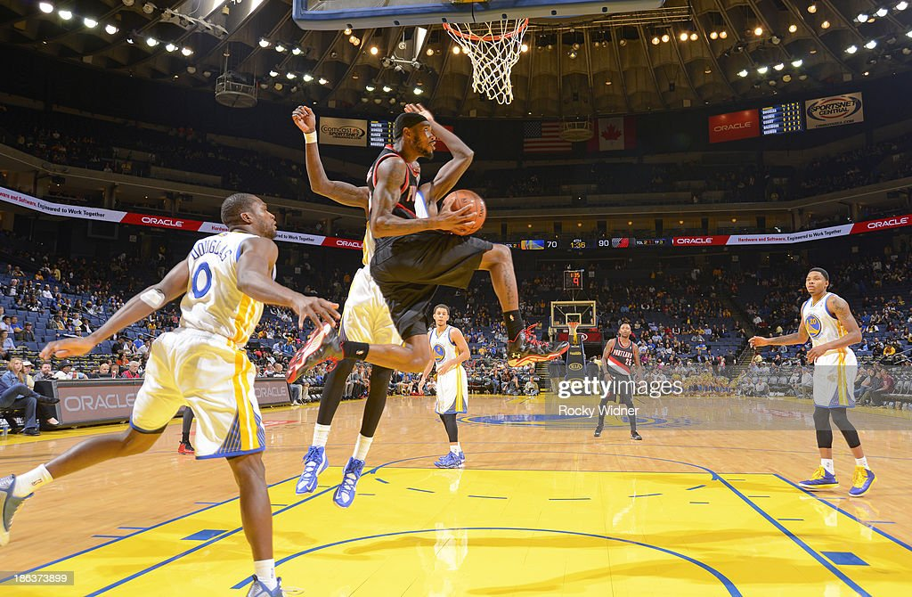 <a gi-track='captionPersonalityLinkClicked' href=/galleries/search?phrase=Will+Barton&family=editorial&specificpeople=6894020 ng-click='$event.stopPropagation()'>Will Barton</a> #5 of the Portland Trail Blazers goes up for a shot against the Golden State Warriors on October 24, 2013 at Oracle Arena in Oakland, California.