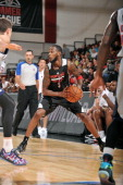 Will Barton of the Portland Trail Blazers handles the ball against the Atlanta Hawks during the Samsung NBA Summer League 2014 on July 15 2014 at the...