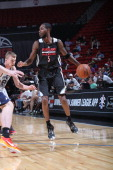 Will Barton of the Portland Trail Blazers handles the ball against the Utah Jazz at the Samsung NBA Summer League 2014 on July 18 2014 at the Thomas...
