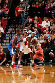 Will Barton of the Portland Trail Blazers handles the ball against Chris Paul of the Los Angeles Clippers on October 12 2014 at the Moda Center Arena...