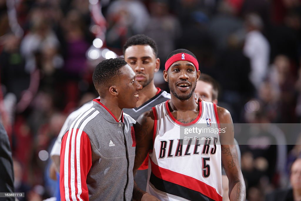 Will Barton #5 of the Portland Trail Blazers is being congratulated during the game between the Detroit Pistons and the Portland Trail Blazers on March 16, 2013 at the Rose Garden Arena in Portland, Oregon.