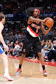 Will Barton of the Portland Trail Blazers looks to pass the ball against the Los Angeles Clippers during the game on October 24 2014 at the Staples...