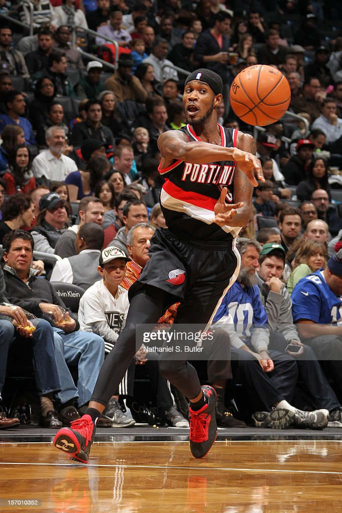 Will Barton #5 of the Portland Trail Blazers passes the ball against the Brooklyn Nets on November 25, 2012 at the Barclays Center in the Brooklyn Borough of New York City.
