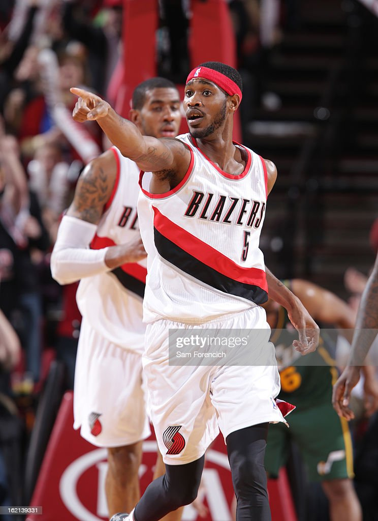 Will Barton #5 of the Portland Trail Blazers points to the bench during the game against the Utah Jazz on February 3, 2013 at the Rose Garden Arena in Portland, Oregon.