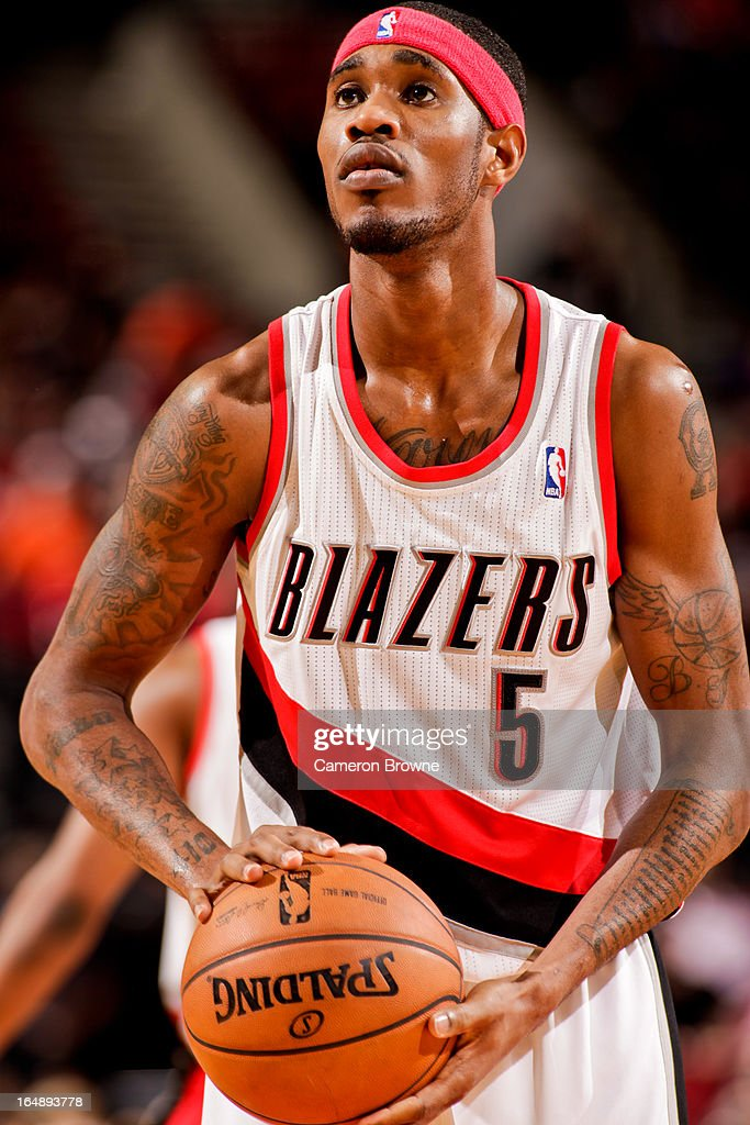 <a gi-track='captionPersonalityLinkClicked' href=/galleries/search?phrase=Will+Barton&family=editorial&specificpeople=6894020 ng-click='$event.stopPropagation()'>Will Barton</a> #5 of the Portland Trail Blazers shoots a free-throw against the Brooklyn Nets on March 27, 2013 at the Rose Garden Arena in Portland, Oregon.