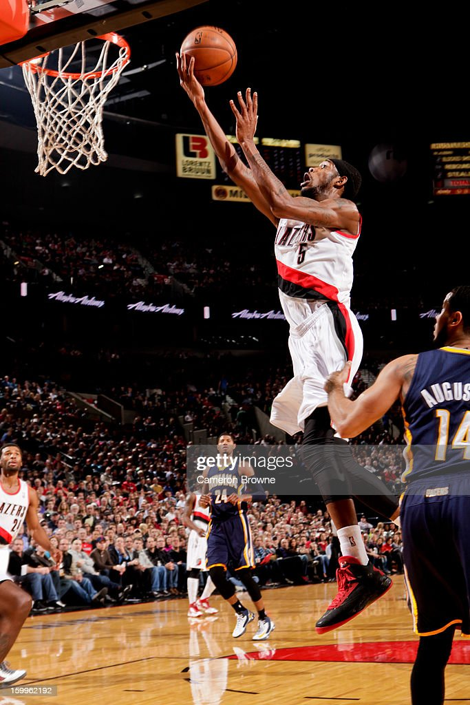 Will Barton #5 of the Portland Trail Blazers shoots a layup against the Indiana Pacers on January 23, 2013 at the Rose Garden Arena in Portland, Oregon.