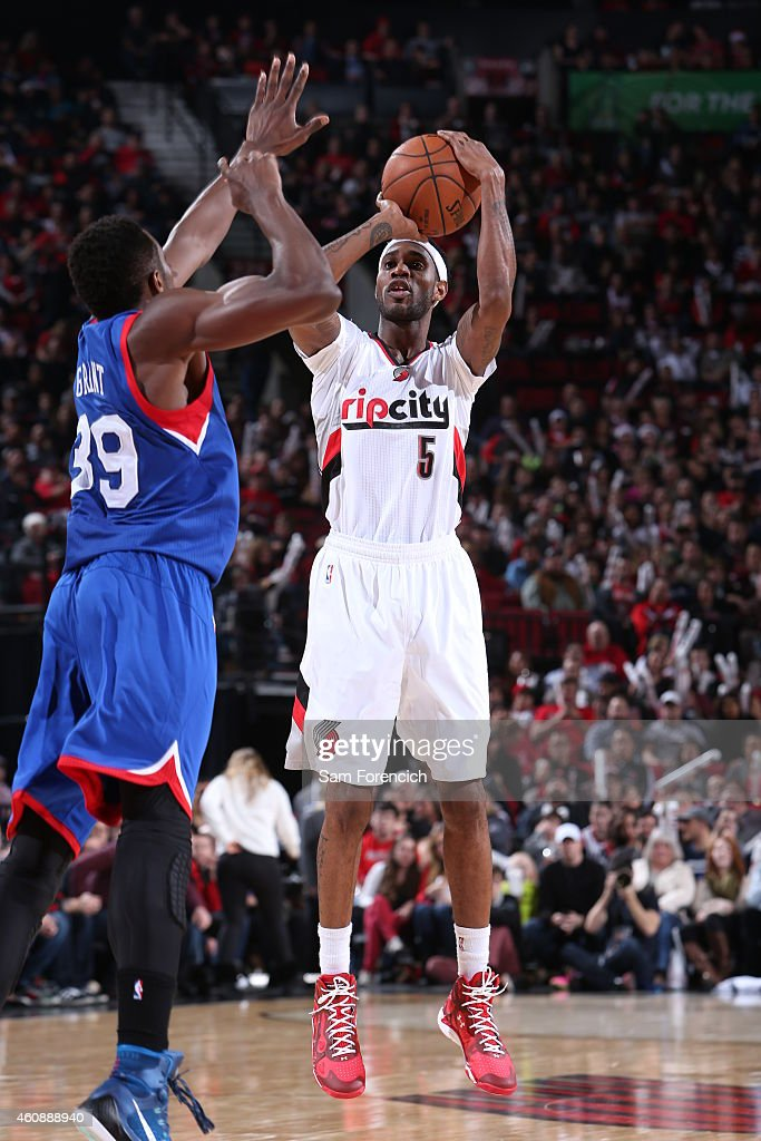 Will Barton of the Portland Trail Blazers shoots the ball against the Portland Trail Blazers on December 26 2014 at the Moda Center Arena in Portland...