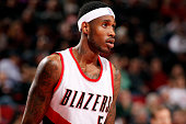 Will Barton of the Portland Trail Blazers stands on the court during a game against the Denver Nuggets on November 9 2014 at the Moda Center Arena in...