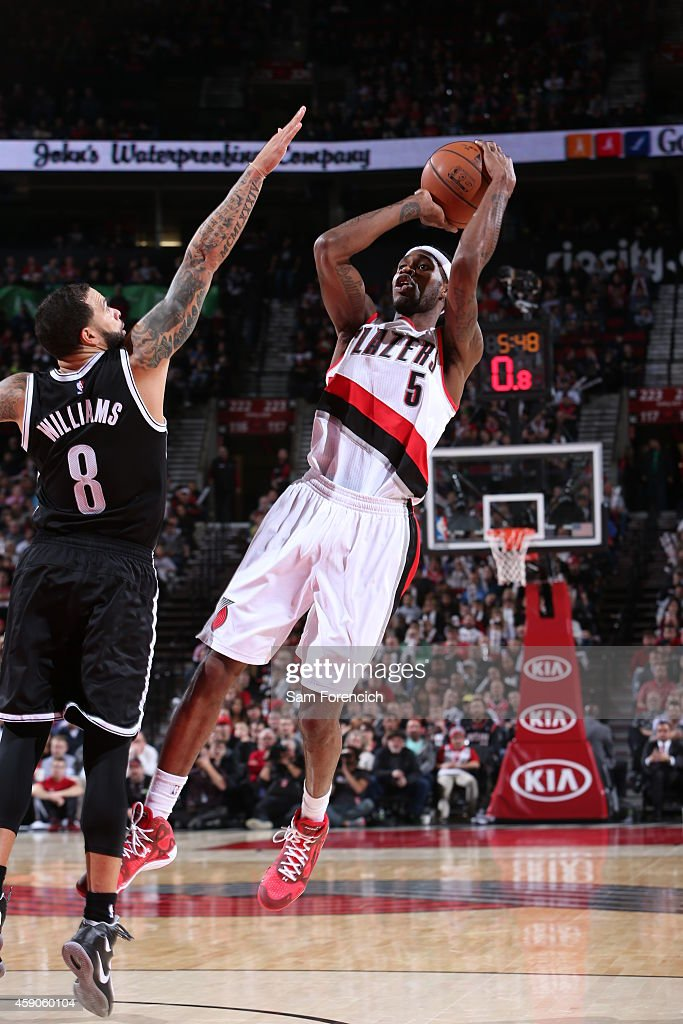 Will Barton of the Portland Trail Blazers takes a shot against the Brooklyn Nets on November 15 2014 at the Moda Center Arena in Portland Oregon NOTE...