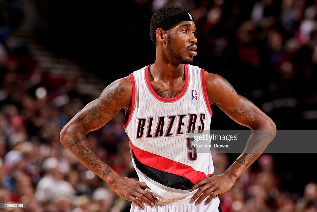 <a gi-track='captionPersonalityLinkClicked' href=/galleries/search?phrase=Will+Barton&family=editorial&specificpeople=6894020 ng-click='$event.stopPropagation()'>Will Barton</a> #5 of the Portland Trail Blazers waits to resume action against the Indiana Pacers on January 23, 2013 at the Rose Garden Arena in Portland, Oregon.