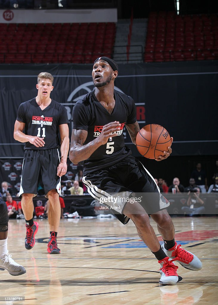 Will Barton #5 pf the Portland Trail Blazers drives the ball during the NBA Summer League game between the Atlanta Hawks and the Portland Trail Blazers on July 17, 2013 at the Thomas & Mack Center in Las Vegas, Nevada.